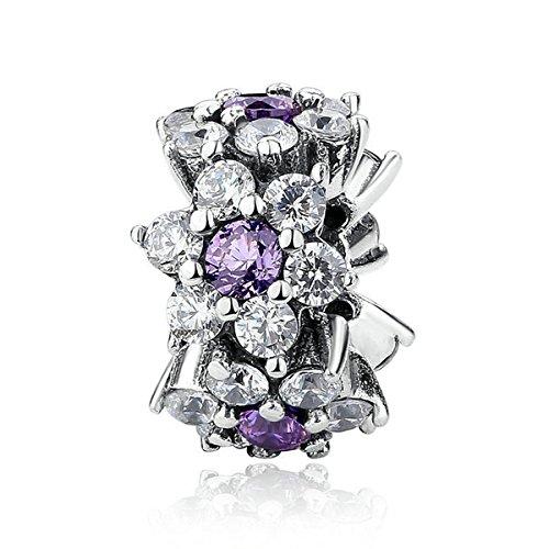 925Sterling argento fiore viola Charm per braccialetti Pandora