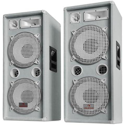 Auna PW-2222 Sonido Profesional DJ Pareja de Altavoces 3 vías, 2000W