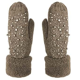befcfc47a769c6 Handschuhe Fäustlinge mit Perlen und Glitzer Strick Handschuhe ...