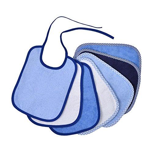7 x Babylätzchen Frottee 100% Baumwolle zum Binden in der Größe 20 x 25 cm (blau)