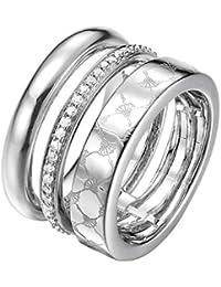 JOOP! Damen-Stapelring Messing rhodiniert Zirkonia transparent JPRG00014A1
