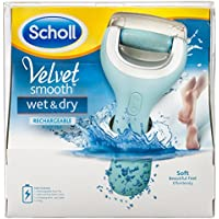 Scholl Rechargeable Velvet Smooth Wet and Dry Pedi Electric Hard Skin Remover, Blue
