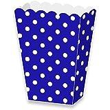 LolliZ® Caja de palomitas de maíz papel brillante azul/lunares. 12-pcs Pack