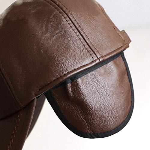 ad6e465a59dd Storagc Cuffia da uomo paraorecchie in pelle berretto da baseball invernale  outdoor caldo e antivento cappello di mezza età cappello caldo autunno e  inverno