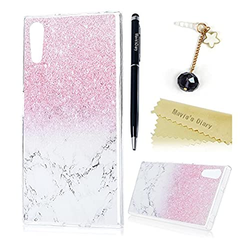 Mavis's Diary Sony Xperia XZ Case - Soft Silicone Rubber Cover Marble Design Slim-Fit Ultra-Thin Anti-Scratch Shock Proof Anti-Finger Print Gel Cover with Dust Plug & Stylus for Sony Xperia XZ - Gradient Pink