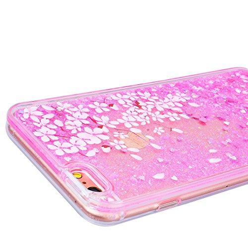 SMART LEGEND iPhone 6S Plus / iPhone 6 Plus Weiche Silikon Hülle Durchsichtig Glatt Glitzer Weich TPU Handy Tasche Soft Case Bumper Schutzhülle Transparent Hülle mit Weiß Muster Handyhülle Crystal Kir Kirsch Blüten
