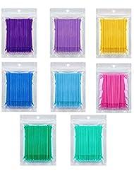 Kalolary 800 PCS Einweg Wattestäbchen, Einweg-Mascara Applikator Micro Brush, Wimpernverlängerung Kleber Removal Lashes Graft Tools für Make-up, Oral und Sauberkeit (8 Farbe)