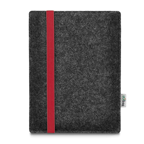 stilbag e-Reader Tasche Leon für Amazon Kindle Oasis (9. Generation), Wollfilz anthrazit - Gummiband rot