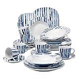 VEWEET Joyce 30 Piezas Vajillas de Porcelana Juegos con 6 Taza 175 ml, 6 Platillo, 6 Platos, 6 Platos de Postre y 6 Platos Hondos para 6 Personas