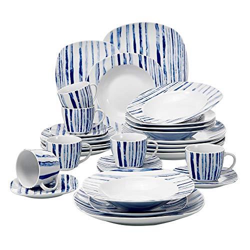 Veweet JOYCE 30pcs Service de Table Porcelaine 6pcs Assiette Plate/Assiette à Dessert/Assiette Creuse/Tasse avec Soucoupes pour 6 Personnes Vaisselles Céramique Design Moderne Bleu