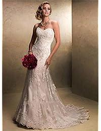 LUCKY-U Vestito da Sposa Abito da Sposa Sirena Lunga Spiaggia Elegante  Notte Banchetto Matrimoniale 5b823cb2c38