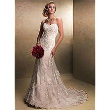 924690a97efe LUCKY-U Vestito da Sposa Abito da Sposa Sirena Lunga Spiaggia Elegante  Notte Banchetto Matrimoniale