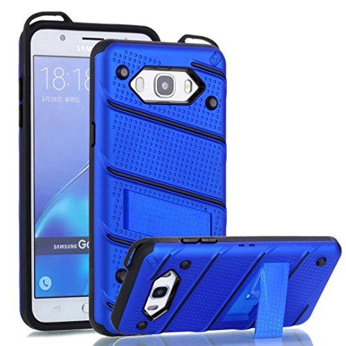 EKINHUI Case Cover Dual Layer Hybrid Armor Schutzhülle Shockproof Stoßfänger mit Kickstand für Samsung Galaxy J7 2016 ( Color : Gold ) Blue