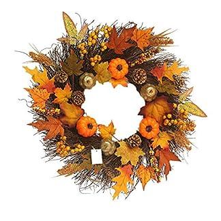 Ganmaov-Herbst-Fall-Ahornblatt-Krbis-Kranz-natrlicher-knstlicher-Krbis-Kranz-Haustrdekoration-Erntedankfest-Halloween-Weihnachts-Festival-dekorativer-Kranz-fr-HotelMallBar