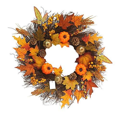 Weihnachtskranz Girlande Tannengirlande Herbstkranz Türkranz Weihnachtsdeko Adventskranz Künstlich Strohblumen Deko für Weihnachten Party