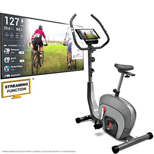 Sportstech es400 ergometro cyclette - controllo app con smartphone, bluetooth, monitor pulsazioni e supporto tablet - volano da 10kg - hometrainer con sistema frenante magnetico e driver innovativo