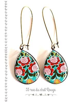 Boucles d'oreilles gouttes, motif russe, Russie, fleurs inspiration Russie, rouge et turquoise, folklore russe, ethnique, colorées