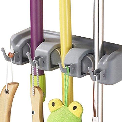 Imixlot nicht Slide Besen und Mop Halter Wand montiert Garten Werkzeug Aufbewahrung Werkzeug Rack Speicherung und Organisation für Zuhause, Wandschrank, Garage und Schuppen, sportgeräten Lagerung Organizer, grau, 3-Position
