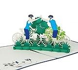 Fahrradtour - Klappkarte / 3D Pop-Up Karte - Als Gutschein für eine Radtour, Grußkarte, Geburtstagskarte, Geldgeschenk, Glückwunschkarte, Gutschein-Karte, Urlaubskarte, Dankeskarte, Geschenkkarte, Fahrrad