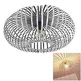 Deckenleuchte Ovari aus Metall grau/silber - Runde Zimmerlampe für Schlafzimmer - Wohnzimmer - Flur - Der Gitterschirm erzeugt einen Lichteffekt an der Decke