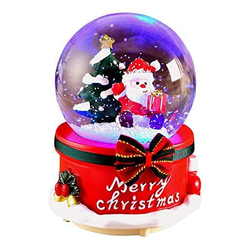 Schneekugel mit Musik,Schneekugel Glitzerkugel Weihnachtsmann,Geschenkestadl Spieluhr Schneekugel,Christmas Geschenk