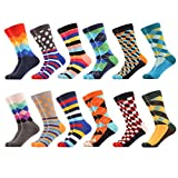 WeciBor Men's Dress Cool Colorful Fancy Novelty Funny Casual Combed Cotton Crew Socks Pack, L, Eu062-84