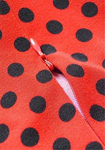 Brinny Robe de soirée/Cocktail Courte à Pois Rétro Vintage année 50 Style Audrey Hepburn Rockabilly Swing avec 3/4 Manches Rouge