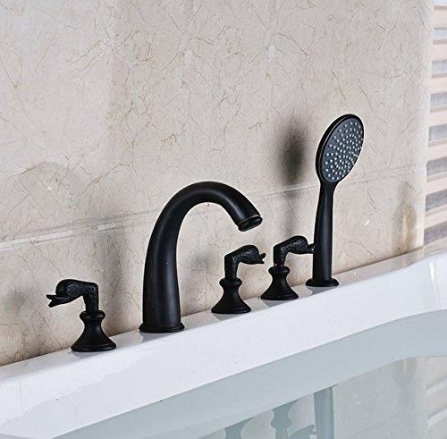 Gowe de salle de bain Largement 5pc Baignoire robinet mélangeur avec douchette Baignoire mélangeurs Couleur : blanc