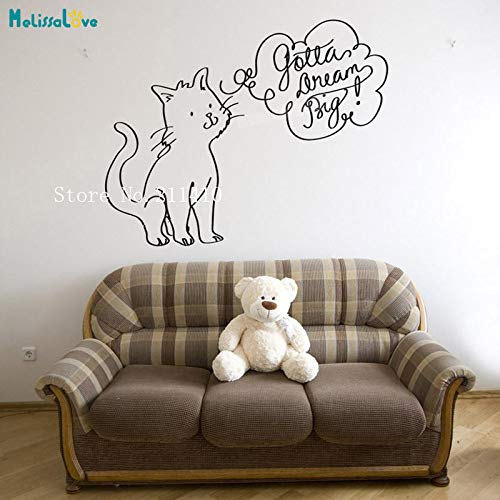 tta Dream Big Cat Wallpaper Sticker Home Decor For Living Room Bedroom Self-adhesive Vinyl Decals Y 70x56cm ()