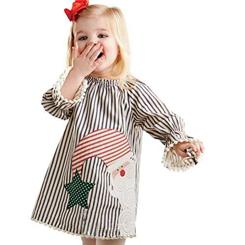 (Shiningup Baby Mädchen Weihnachten Kleid Santa Claus Striped Printed Langarm Prinzessin Outfit Kleidung)