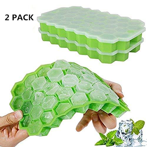 Eiswürfelform Silikon mit Deckel, Eiswürfelbehälter, 2 Stücke Ice Cube Tray, Eiswürfelbereiter BPA Frei, 37-fach Eiswürfel, LFGB Zertifiziert(grün) -