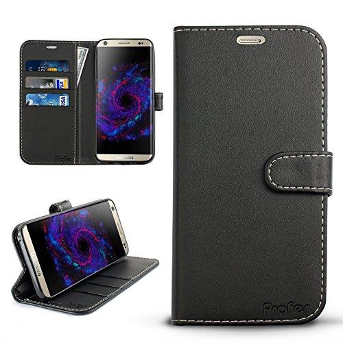 Samsung Galaxy S8 Hülle, Profer [Premium Leder Serie] Schutzhülle PU Leder Flip Tasche Case mit Integrierten Kartensteckplätzen und Ständer für Samsung Galaxy S8 (Leder-Schwarz)