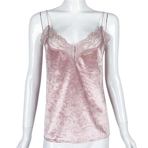 CYBERRY.M Débardeurs Femme Sans Manches Bretelles Velouté Dentelle T-shirt Blouse Top Rose