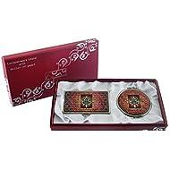 Mère de perle de ROI Accessoire design loupe Double miroir compact de maquillage avec porte carte crédit Nom de Visite de Gravure Fine en acier inoxydable d'argent cas