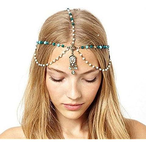 Malloom® venta de joyería caliente borlas de perlas + Cadena de la turquesa /  banda para la cabeza /  banda para el cabello