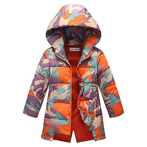 YYF Girls Thick Soft Hooded Down Jacket Camouflage 2 Side Pockets Puffer Vest Hoodie