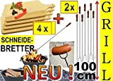 4 x Servierbretter Picknick Geschirr Grillbretter Picknick Geschirr natur + 2 x Grillspiesse, 100cm...