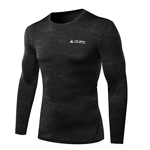AMZSPORT Herren Quick Dry Funktion Sport Kompressionsshirt - Langarm Funktionshirts Base Layer Shirts by L -