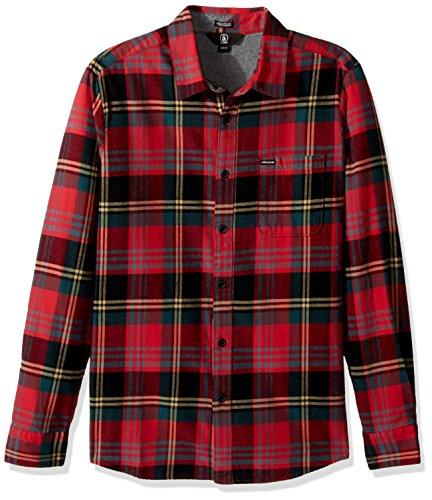 Volcom Caden L/S Camisa, Hombre, Rojo, M