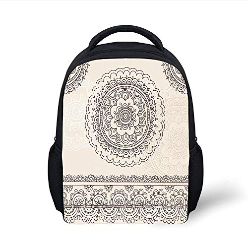 Kids School Backpack Henna,Floral Tattoo Design Inspirations from Asian Civilizations Doodle Style Soft Colored Decorative,Brown Cream Plain Bookbag Travel Daypack -