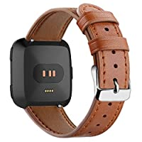 bloatboy 22mm 8 Colour Leather Watch Band watch strap for Fitbit Versa/Versa Lite,Quick Release Watchband Replacement for Mens Womensr (Brown)