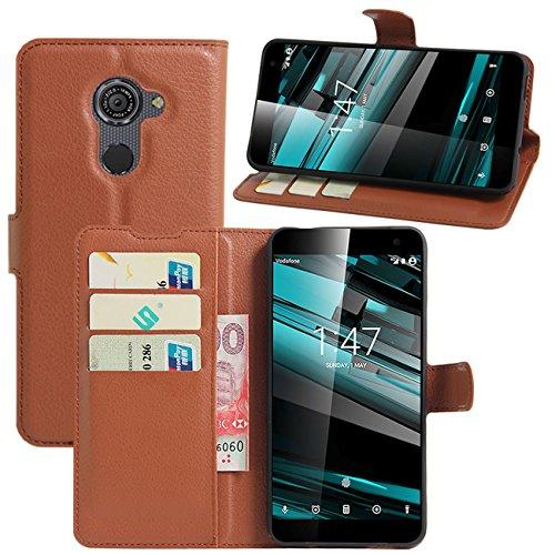 HualuBro Vodafone Smart Platinum 7 Hülle, Premium PU Leder Leather Wallet Handyhülle Tasche Schutzhülle Case Flip Cover mit Karten Slot für Vodafone Smart Platinum 7 Smartphone (Braun)