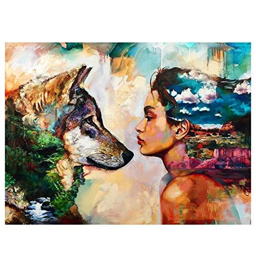 YIKUI Painting Wandkunst Leinwand Gemälde,Ölgemälde Auf Handgemalt Farbe Mädchen und Hund, Moderne Abstrakte Wandkunst für Wohnzimmer Kunst Wanddekoration (Kein Rahmen, Nur Leinwand),60x70cm