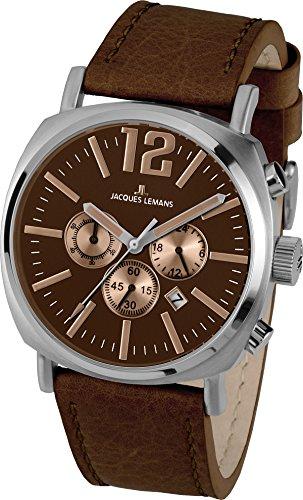 JACQUES LEMANS Herrenuhr Lugano  Lederarmband massiv Edelstahl  Chronograph 1-1645G