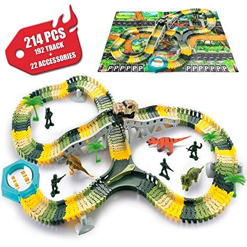 SYOSIN CircuitVoitureDinosaure Flexible Electrique Jouet,Dinosaur Track Toy pour Cadeau JeuxEducatif3 4 5 6 7Ans Garcon Fille Enfant