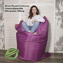 QSack Outdoor Sitzsack XXL, Toxproof Mikroperlen, schadstoffgeprüft, 140x180 cm (Brombeere)