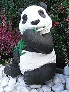 Steinfigur Panda, Gartenfigur Steinguss Tierfigur Schwarz Weiß