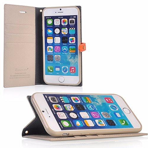 UKDANDANWEI Apple iPhone 7 Plus Hülle Hochwertig Stilvoll Kunstleder Schutzhülle Tasche PU Leder Brieftasche Handyhülle Klapptasche Handycover Bumper Schale mit Kreditkarteninhaber Kippständer Magnetv Beige