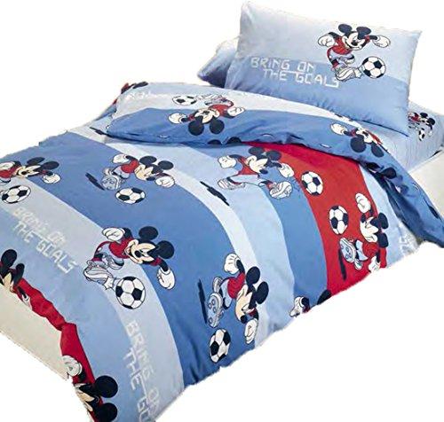 Completo Funda Nórdica Diney de algodón para cama una plaza Mickey Fútbol Azul by Caleffi