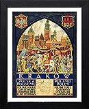 L Lumartos Vintage Poster Krakau Polska Polska Polska Zeitgenössische Heimdekoration, Wandbild, Schwarz, A3